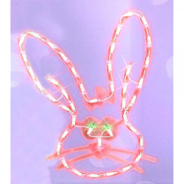 17 Lighted Pink Easter Bunny Head Window Silhouette Decoration by IMPACT