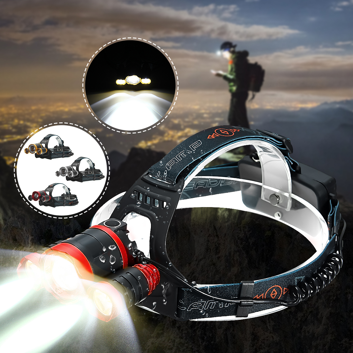 6000 Lumens 3 x T6 led Mechanical Telescopic Zoomable Focus Headlight Headlamp Head Lantern Tactical Lamp 4 Modes Waterproof For Camping Hiking