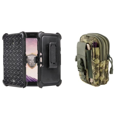 BC Rugged Dual Layer Armor Kickstand Holster Case (Diamond Plate) with ACU Camo Tactical EDC MOLLE Waist Pouch and Atom Cloth for Samsung Galaxy J7 - Pouches Dip