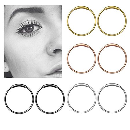 Outtop Stainless Steel Hinge Septum Piercing Nose Ring Fake Hoop Lips Ear Ring -