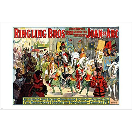Ringling Bros Tremendous Spectacle Joan Of Arc Circus Poster 1912 24X36