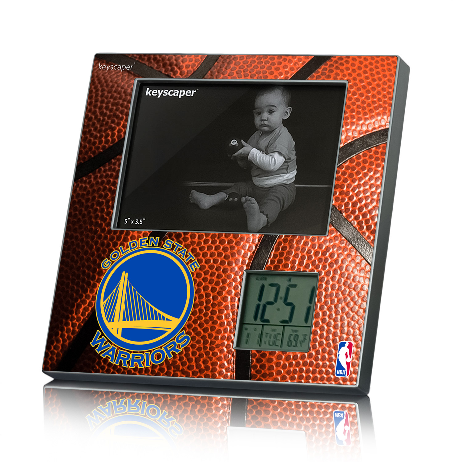Golden State Warriors Picture Frame and Desk Clock NBA