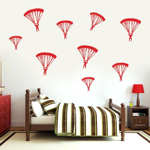 Set of Paratroopers Wall Decal FOREST GREEN