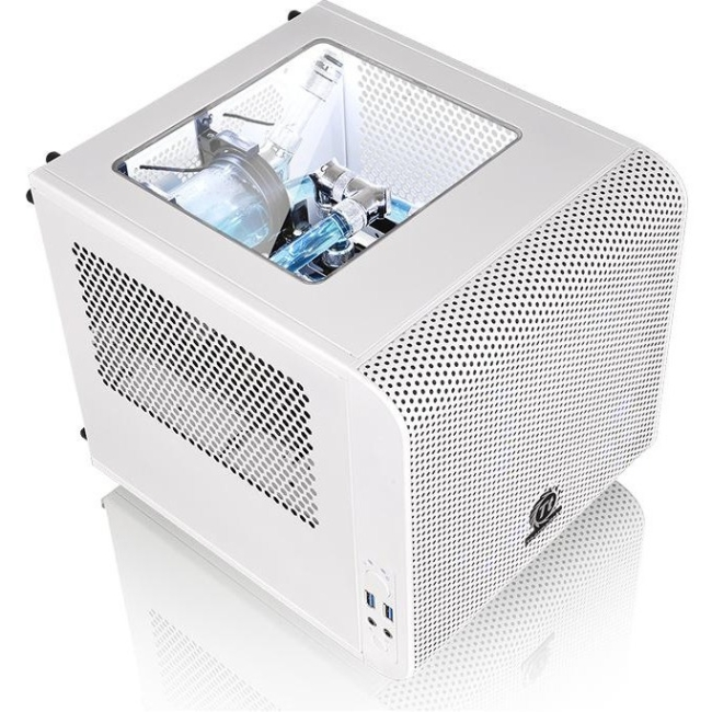 Thermaltake Core V1 Snow White mITX Small Form Factor Cube Gaming Desktop Chassis - CA-1B8-00S6WN-00