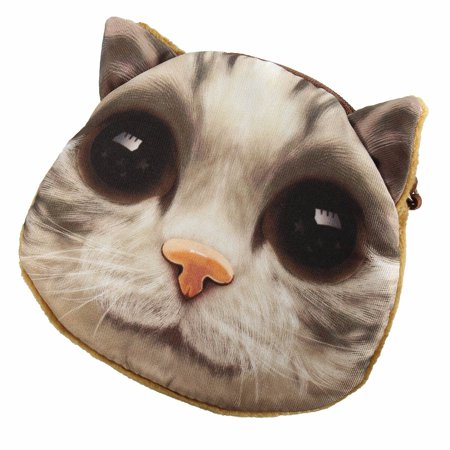 Lovely Animal Dog Cat Face Coin Zipper Pocket Mini Handbag Wallet - image 3 of 4