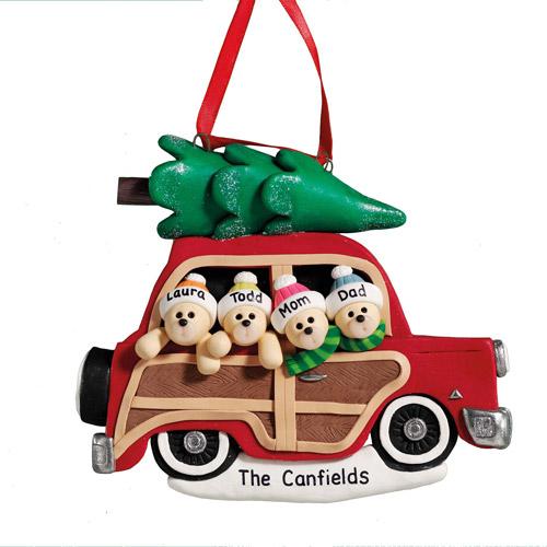 Personalized Woody Wagon Bear Family Christmas Ornament, 5 Bears