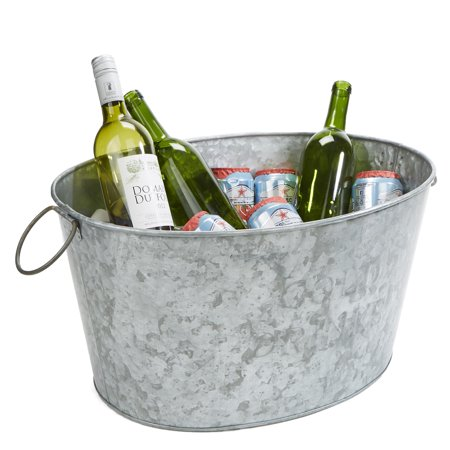 Mind Reader Heavy Duty Oval Galvanized Iron Ice Bucket Beverage Chiller Tub, Silver ()