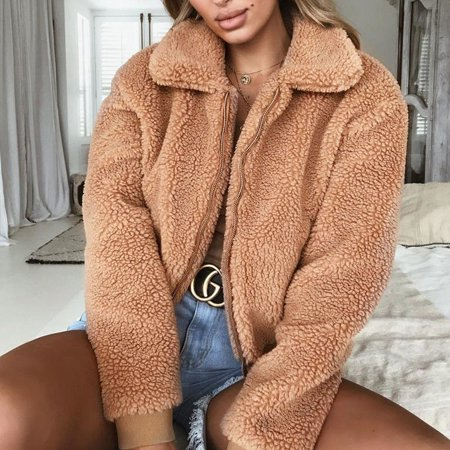 Womens Thick Warm Teddy Bear Pocket Fleece Jacket Coat Zip Up Outwear