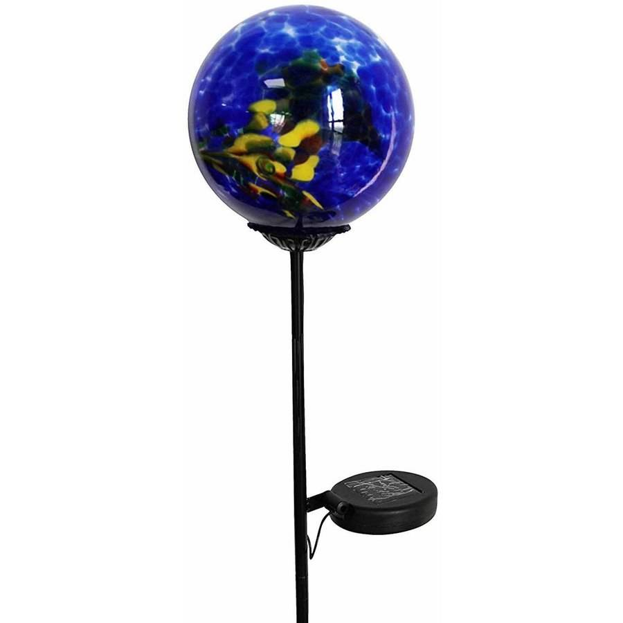 Moonrays 92563 Solar Powered White Led Swirled Glass Gazing Ball Stake Light by