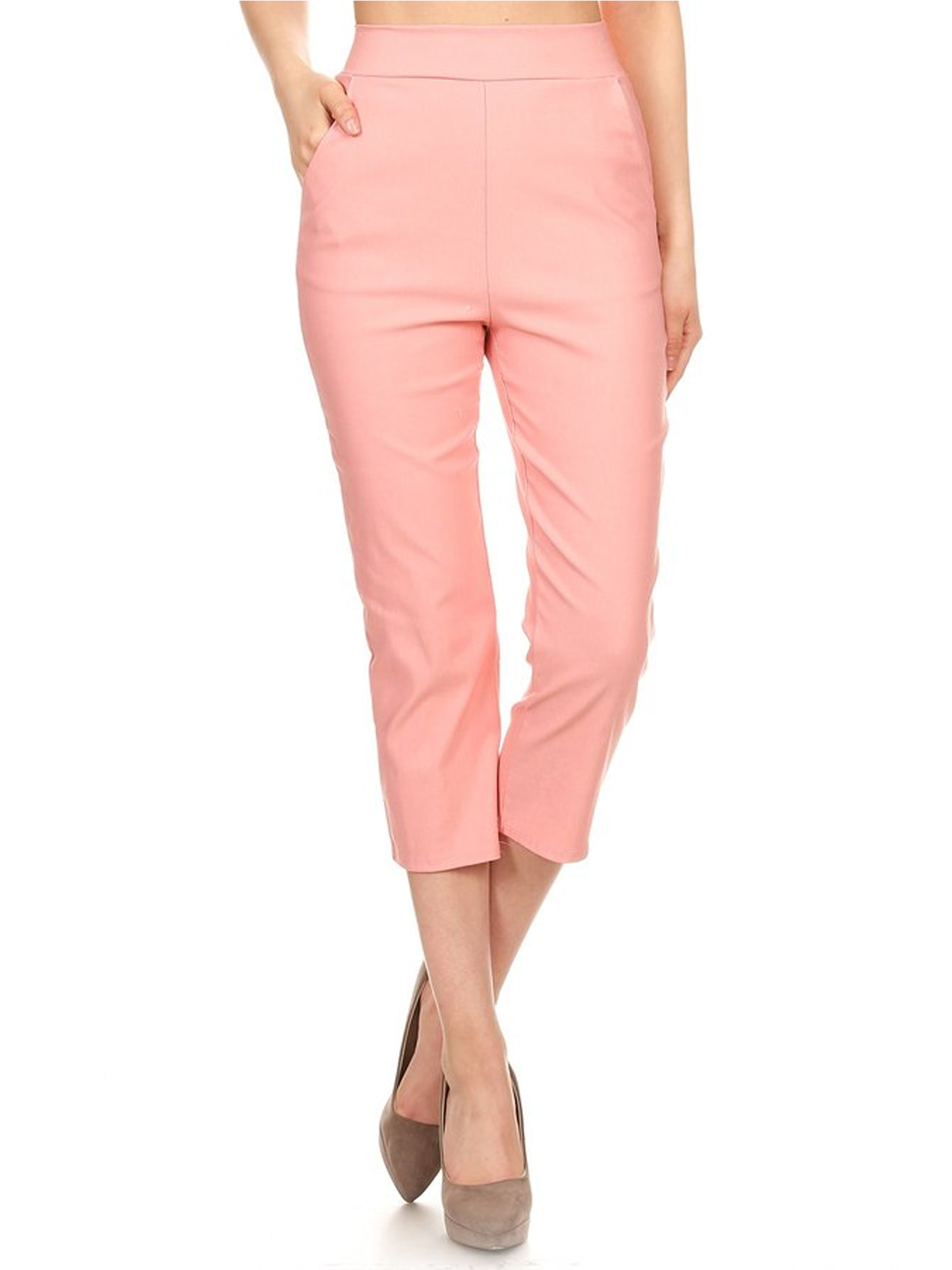 NEW MOA COLLECTION Women's Solid/Printed Basic Slim Fitted Capri Formal Casual Pants / Made in USA
