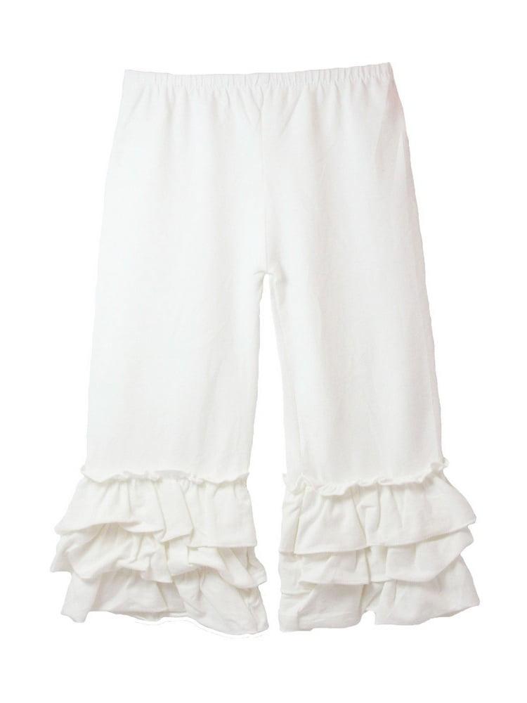 Girls Ivory Triple Tier Ruffle Cuffed Cotton Spandex Pants 12M-7