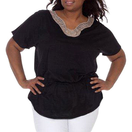 Plus Moda Women's Plus-Size Embellished Knit Top with Gathered Waist