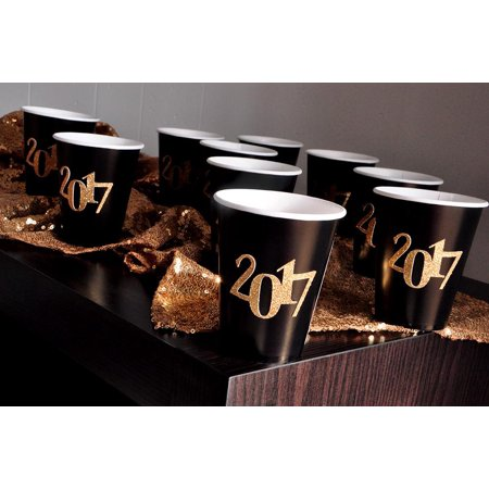 Graduation Party Decorations. Handmade in 1-3 Business Days. Graduation Party Ideas. Set of 10 Black and Gold 2017 Party Cups. - Graduation Ideas For High School