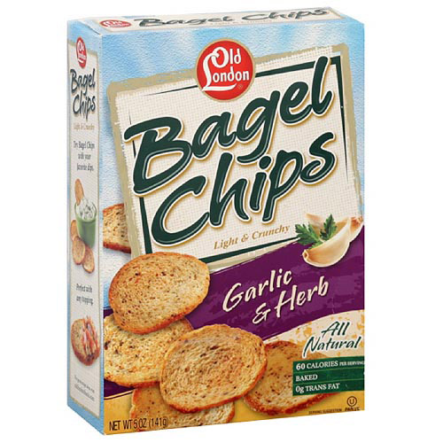 Old London Garlic Bagel Chips, 5 oz (Pack of 12)