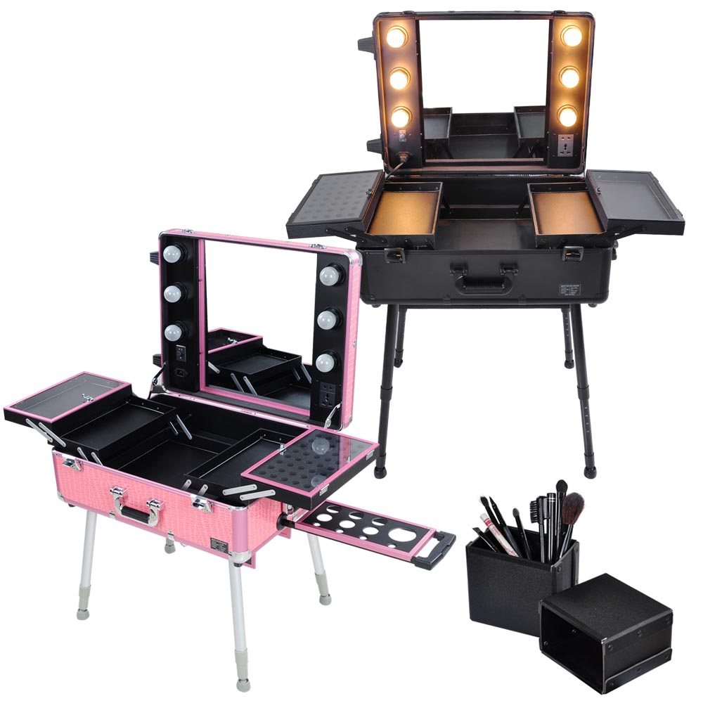 AW Rolling 2-wheels Studio Lockable Makeup Case w/ 6x 40W Light Bulb Adjustable Leg Mirror Artist Cosmetic Train Table