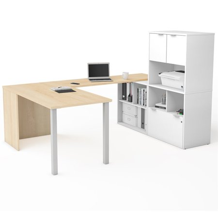 Bestar i3 Plus U-Desk with Hutch