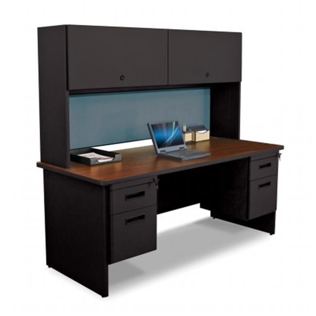 Marvel Group PRNT5-BK-F8568-OKPU 72 W x 30 D in. Double File Desk with Flipper Door Cabinet, Black & Oak, Slate by Marvel Office Furniture