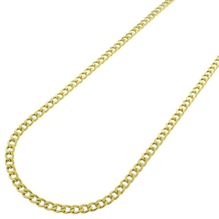 (10k Yellow Gold 2.5mm Hollow Cuban Curb Link Necklace Chain 16
