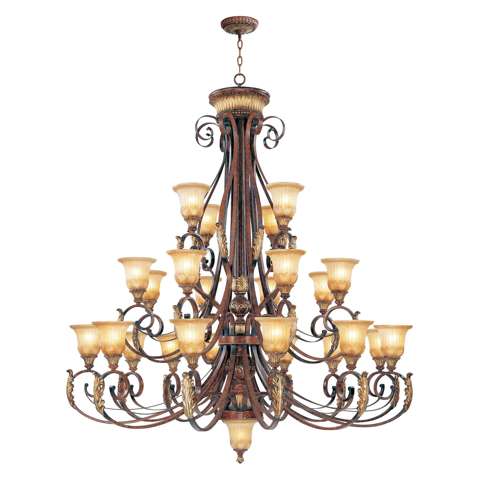 Livex Villa Verona 8589-63 Chandelier - Verona Bronze with Aged Gold Leaf Accents - 60-watt in.