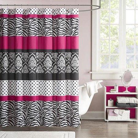Mi Zone Reagan Print Stripes Kids Shower Curtain Zebra Curtains For Bathroom