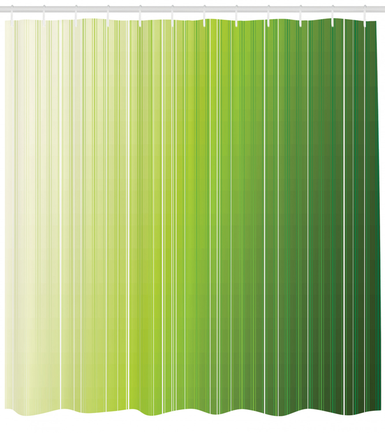 Sage Shower Curtain Ombre Style Composition With Color Shades And Vertical Digital Stripes Fabric Bathroom Set With Hooks 69w X 70l Inches Green
