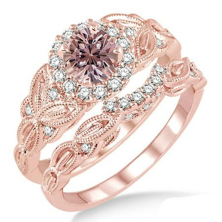 Jeenjewels 1 25 Carat Morganite Diamond Vintage Floral Bridal