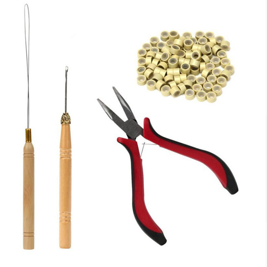 Tuscom Feather Hair Extension TOOL KIT Micro Ring Hair Extension Pliers Pulling Hook