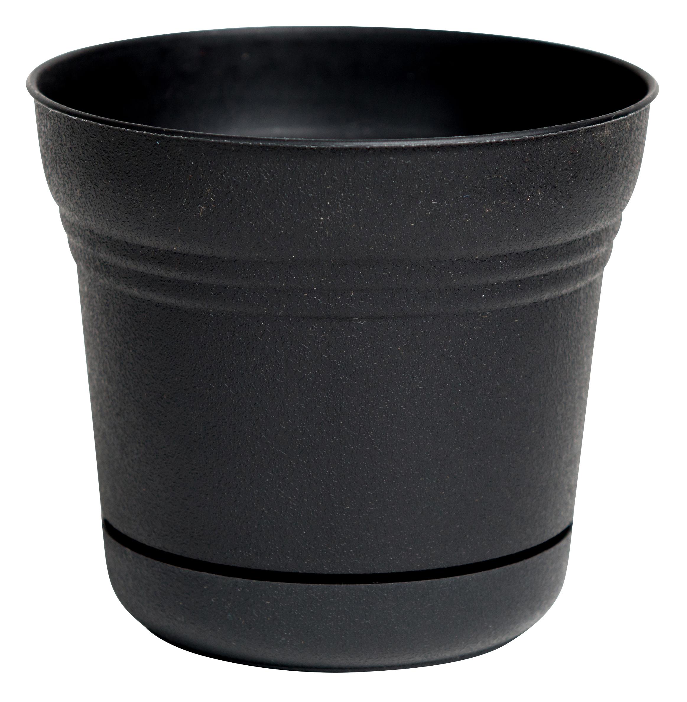 "Bloem Saturn Planter with Saucer 5"" Black"