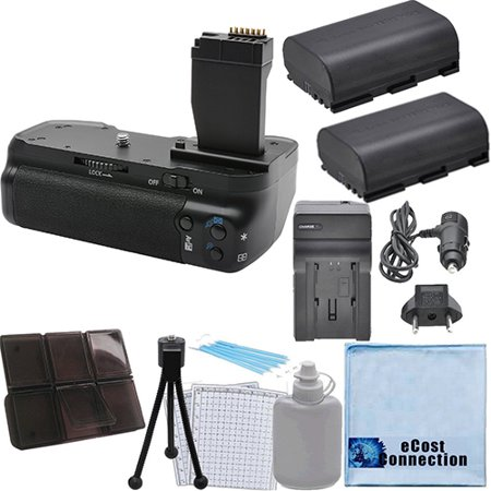 Battery Grip for Canon T6I/T6S DSLR Cameras + 2 LP-E17 Batteries + 2 Car/Home Chargers + Deluxe eCostConnection Starter Kit ()