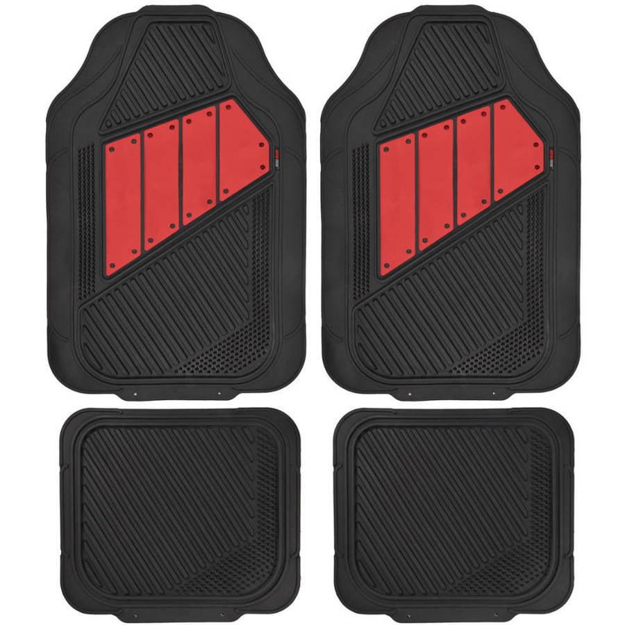 Motor Trend FlexTough 2 Tone Rubber Car Floor Mats for Auto Heavy