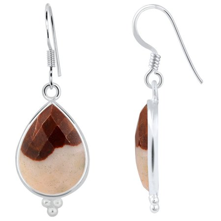 17.6 Carat Pear Cut Orange Outback Jasper 925 Sterling Silver Dangle Earrings