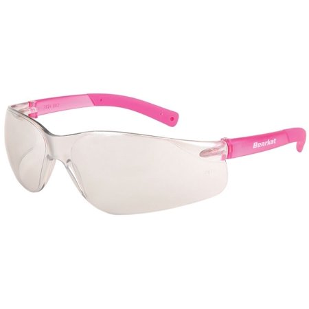 Crews Bearkat Small Safety Glasses Pink Temples Indoor/Outdoor Lens