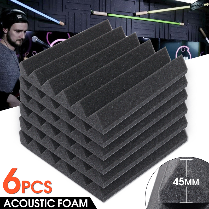 "6 Pack Dark Grey Acoustic Foam Panels Soundproofing Wedge Wall Tiles Studio Studio Environment Sound Panels,12"" x12"" x 1.77"""