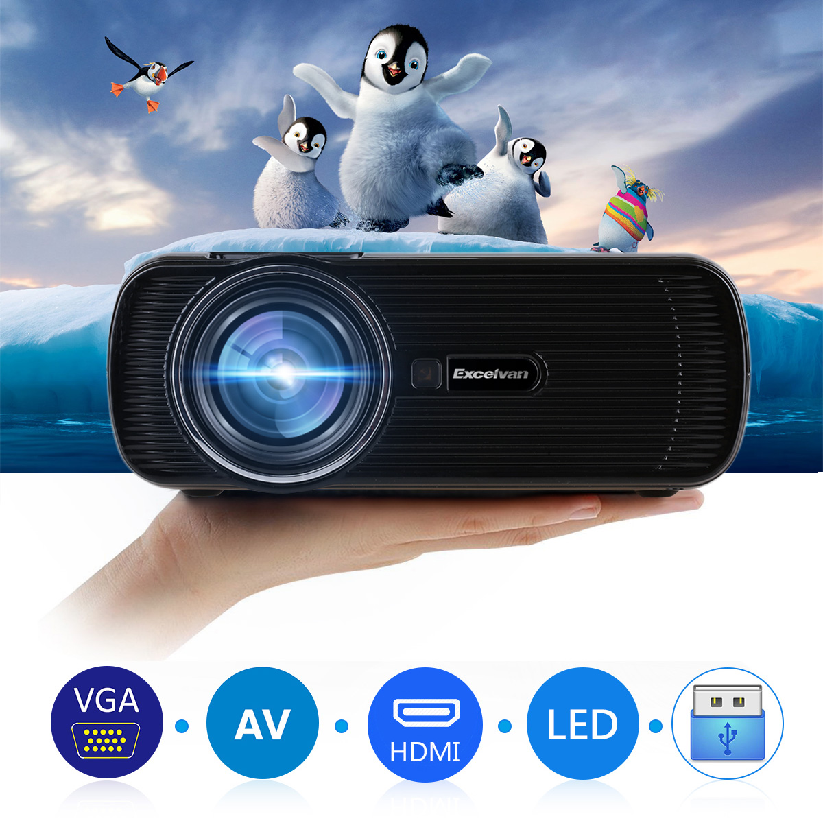 Excelvan mini portable Multimedia LCD LED Projector 800x480 pixels 1500 lumens Home theater cinema HDMI/USB/VGA/AV/ATV/SD