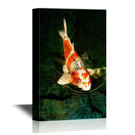 wall26 - Canvas Wall Art - Golden Fish with Red and White Color - Gallery Wrap Modern Home Decor | Ready to Hang - 32x48 inches ()