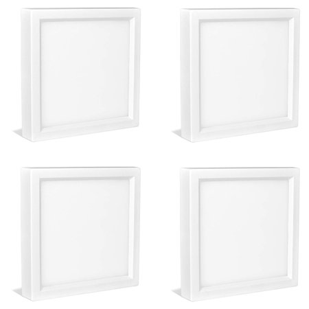 4-Pack 4 Inch Square LED Flush Mount Ceiling Light, Luxrite, 3000K (Soft White), 600LM, 10W, White Finish, Dimmable, Surface Mount LED Ceiling Light, Wet Rated, Energy Star - Kitchen and