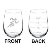 Wine Glass Goblet Two Sided 5k 13.1 26.2 Marathon Runner (17 oz Stemless),MIP