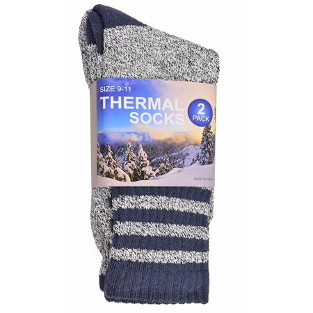 Soxnet Eco Friendly Heavy Weight Recycled Cotton Thermals Boot Socks 2-Pack (9-11, Stripe Blue)