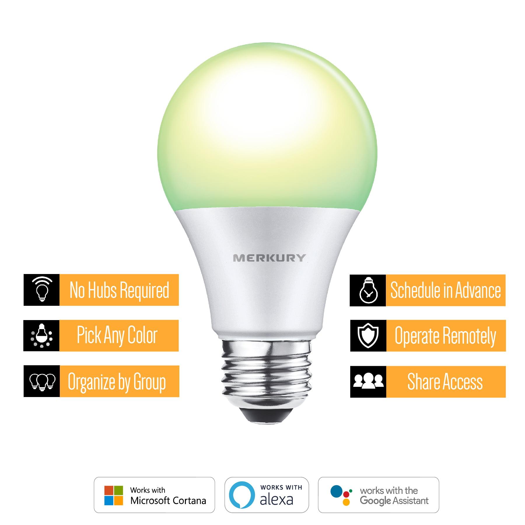 Merkury Innovations A21 Smart Light Bulb, 75W Color LED, 1-Pack