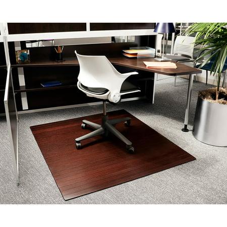 Dark Cherry 48 X 52 Bamboo Roll Up Office Chair Mat 1 4