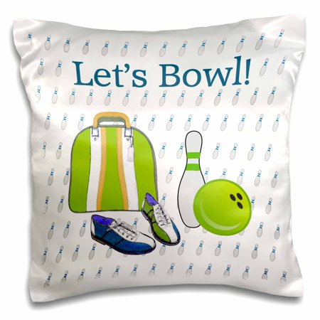 3dRose Lets Bowl, Bowling Ball, Pins, Shoes, and Bag, Green, Gold, Blue, Purple - Pillow Case, 16 by 16-inch ()