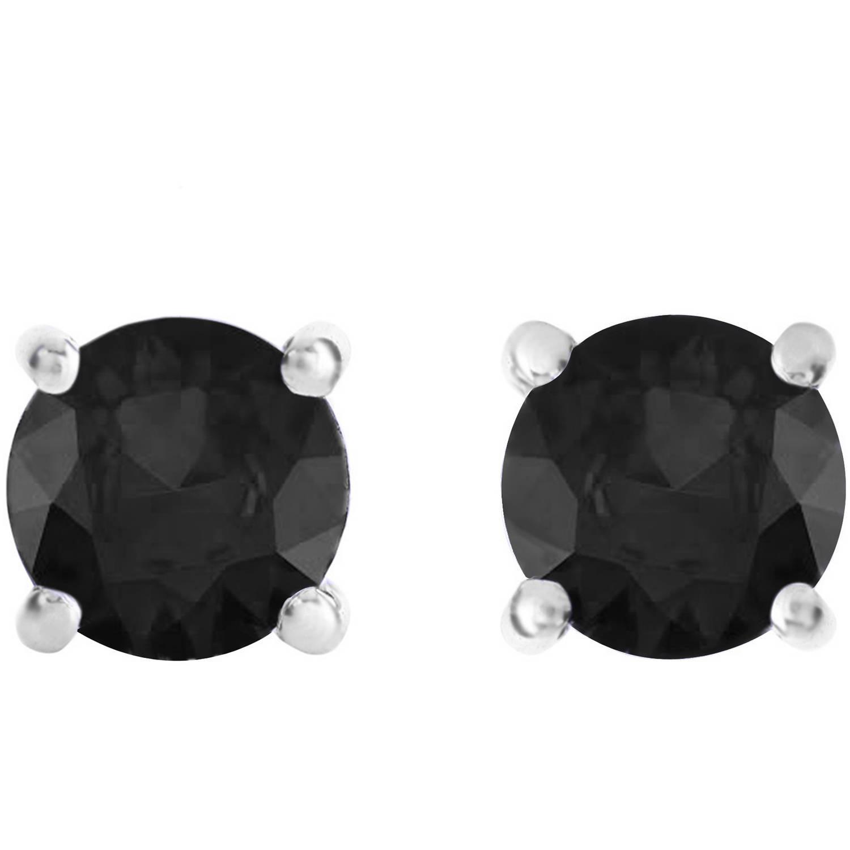 1-1/2 Carat T.W. Round Black Diamond Sterling Silver Stud Earrings