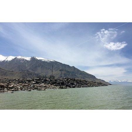 Peel-n-Stick Poster of Salt Nature Great Salt Lake Utah Lake Mountain Poster 24x16 Adhesive Sticker Poster