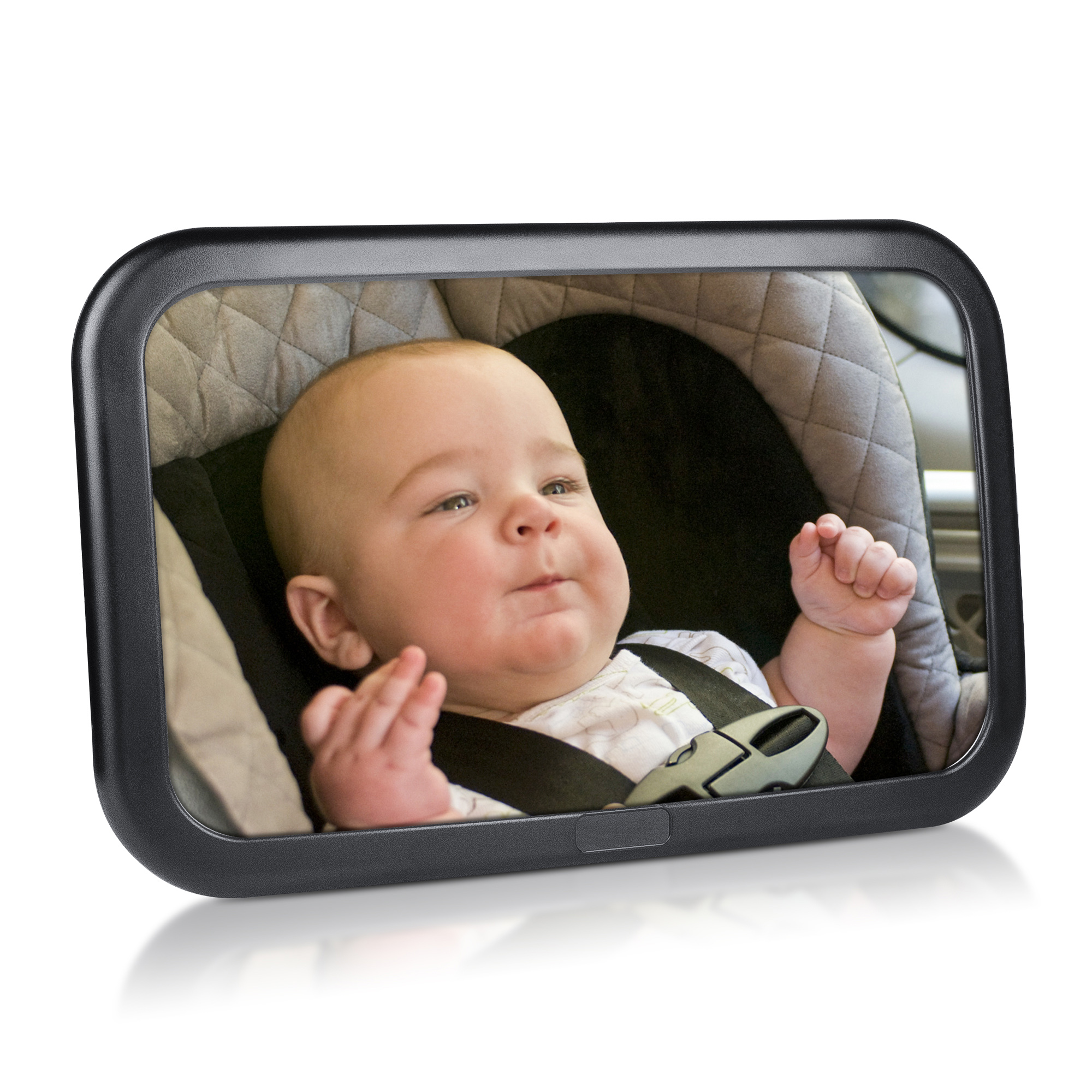 Baby Mirror for Car, Largest and Most Stable Backseat Mirror with Premium Matte Finish for Child, Rear Seat Large Wide View Safety Mirror for Baby, Safe, Secure and Shatterproof