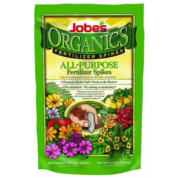 Jobes Easy Gardener 06528 50 Count Organics All Purpose Fertilizer Spikes 4-