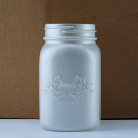 Fantado Regular Mouth Frosted Pearl White Mason Jar w/ Handle, 16oz / 1 Pint by PaperLanternStore