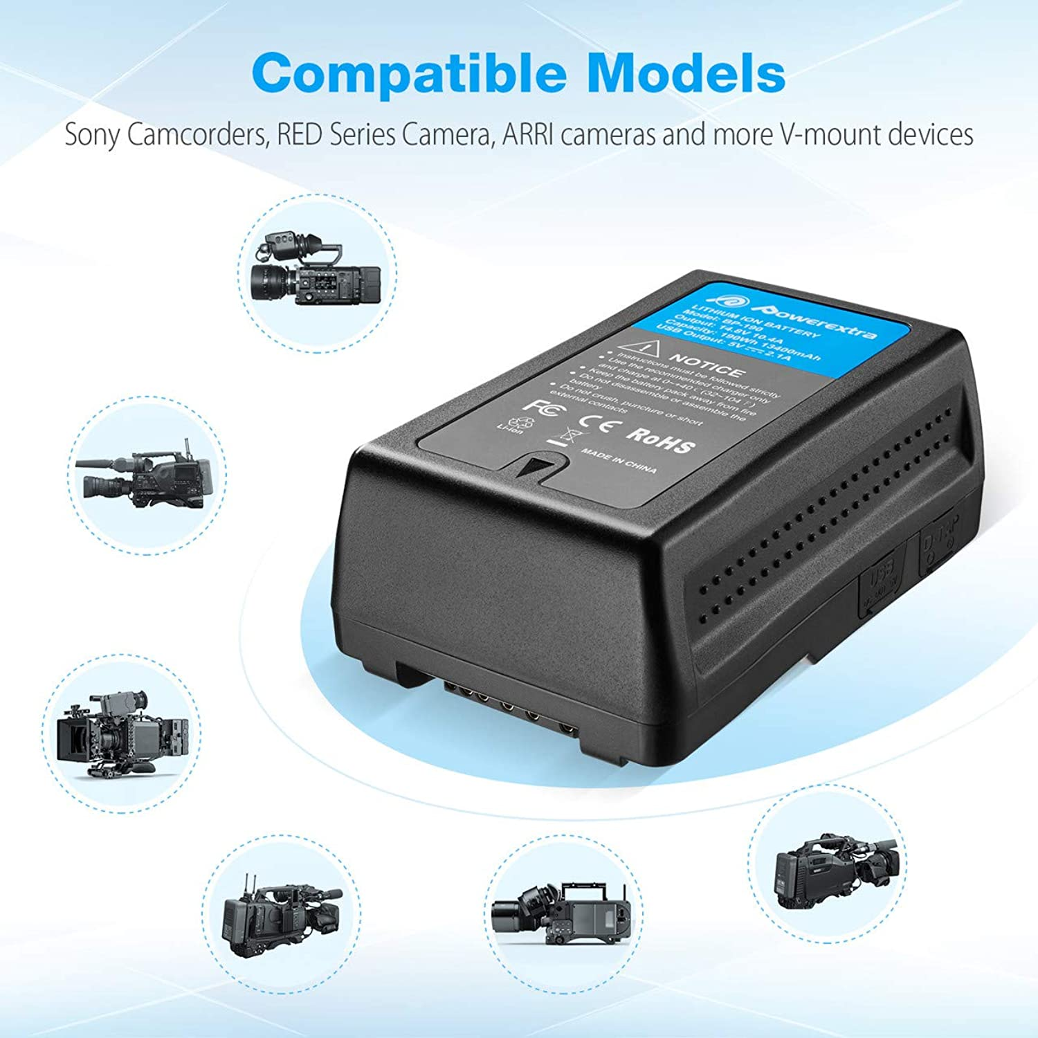 Replacement V Mount//V-Lock Battery Compatible with Sony Camera Camcorder Broadcast Replacement Brick for DSLR BP-190WS Newmowa 190Wh 13200mAh