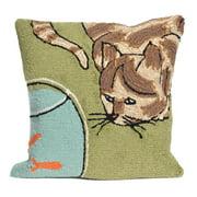 Liora Manne Frontporch Curious Cat Indoor/Outdoor Pillow