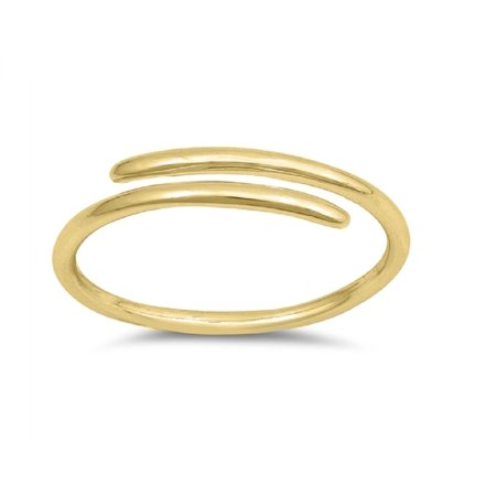 Sterling Silver Overlapping (Yellow Gold-Tone Plated Sterling Silver Overlapped Plain Band Adjustable)