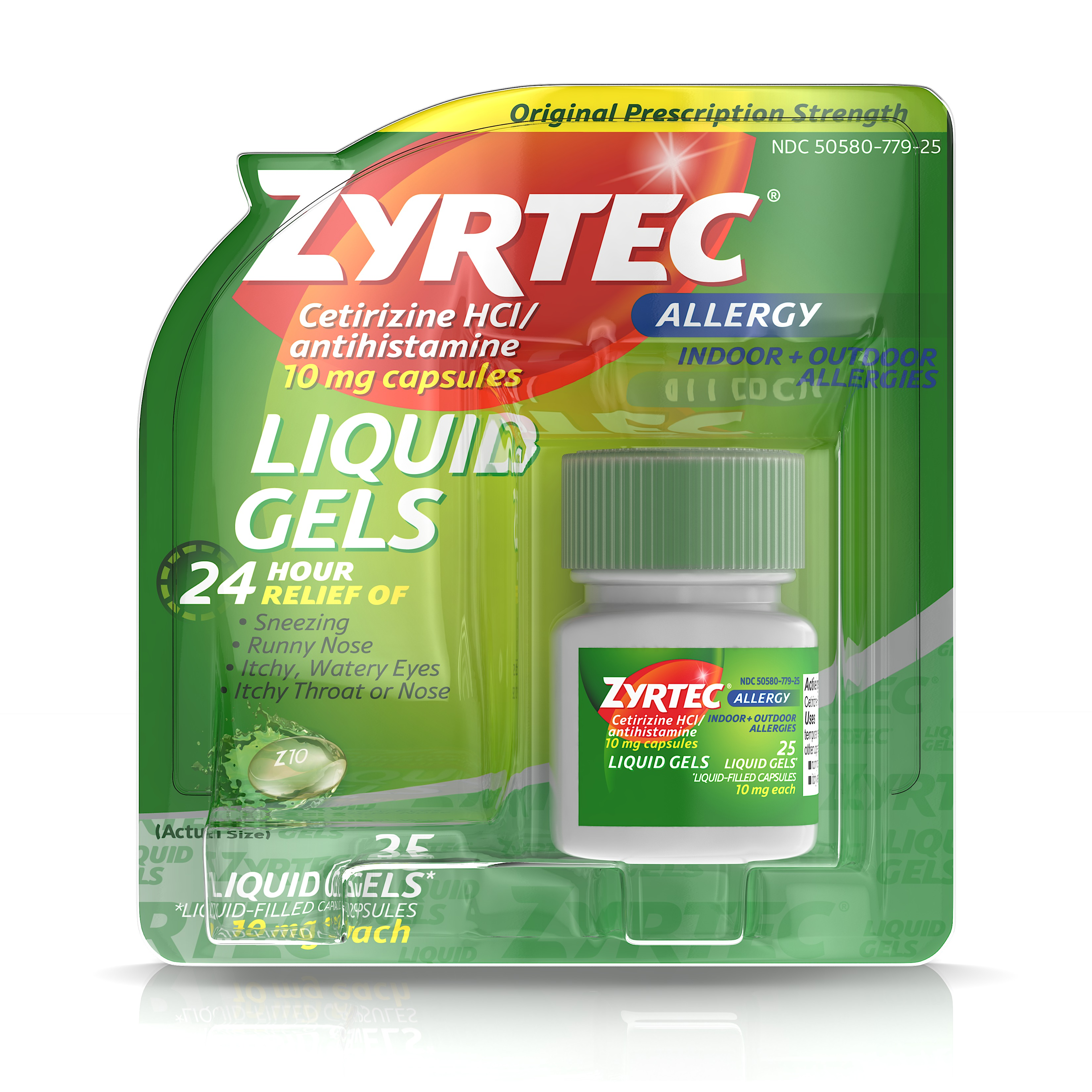 Zyrtec 24 Hour Indoor & Outdoor Allergy Medicine Liquid Gels With Cetirizine, 25 Count